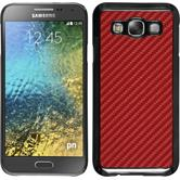 Hardcase for Samsung Galaxy E5 carbon optics red