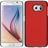 Hardcase for Samsung Galaxy S6 carbon optics red