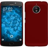 Hardcase Moto E4 Plus (EU Version) gummiert rot + 2 Schutzfolien