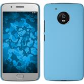 Hardcase Moto G5 gummiert hellblau + 2 Schutzfolien