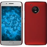 Hardcase Moto G5 gummiert rot + 2 Schutzfolien