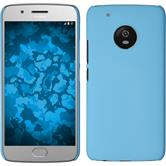 Hardcase Moto G5 Plus gummiert hellblau + 2 Schutzfolien