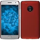 Hardcase Moto G5 Plus gummiert rot + 2 Schutzfolien