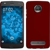 Hardcase Moto Z2 Play gummiert rot + 2 Schutzfolien