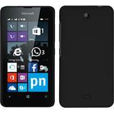 Hardcase Lumia 430 Dual gummiert schwarz + 2 Schutzfolien