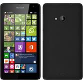 Hardcase Lumia 535 gummiert schwarz + 2 Schutzfolien