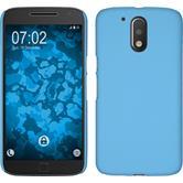 Hardcase Moto G4 gummiert hellblau + 2 Schutzfolien
