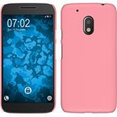 Hardcase Moto G4 Play gummiert rosa + 2 Schutzfolien