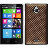 Hardcase Nokia X2 Carbonoptik bronze + 2 Schutzfolien