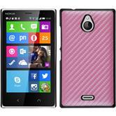 Hardcase Nokia X2 Carbonoptik pink + 2 Schutzfolien