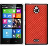 Hardcase Nokia X2 Carbonoptik rot + 2 Schutzfolien
