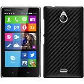 Hardcase Nokia X2 Carbonoptik schwarz + 2 Schutzfolien