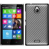 Hardcase Nokia X2 Carbonoptik silber + 2 Schutzfolien