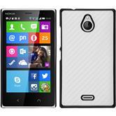 Hardcase Nokia X2 Carbonoptik weiß + 2 Schutzfolien