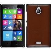 Hardcase Nokia X2 Lederoptik braun + 2 Schutzfolien