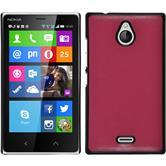 Hardcase Nokia X2 Lederoptik pink + 2 Schutzfolien