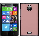 Hardcase Nokia X2 Lederoptik rosa + 2 Schutzfolien