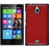 Hardcase Nokia X2 Lederoptik rot + 2 Schutzfolien