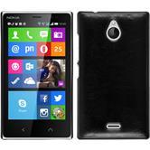 Hardcase Nokia X2 Lederoptik schwarz + 2 Schutzfolien