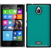 Hardcase Nokia X2 Lederoptik türkis + 2 Schutzfolien