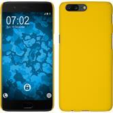 Hardcase OnePlus 5 gummiert gelb + 2 Schutzfolien