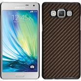 Hardcase Galaxy A7 (A700) Carbonoptik bronze + 2 Schutzfolien