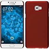 Hardcase Galaxy C7 Pro gummiert rot + 2 Schutzfolien