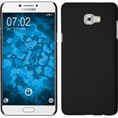 Hardcase Galaxy C7 Pro gummiert schwarz + 2 Schutzfolien