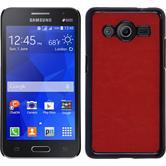 Hardcase Galaxy Core 2 Lederoptik rot + 2 Schutzfolien