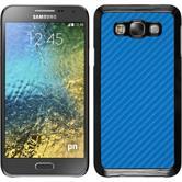 Hardcase Galaxy E7 Carbonoptik blau + 2 Schutzfolien