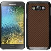 Hardcase Galaxy E7 Carbonoptik bronze + 2 Schutzfolien