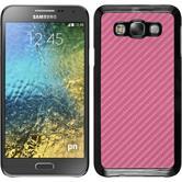 Hardcase Galaxy E7 Carbonoptik pink + 2 Schutzfolien
