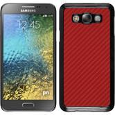 Hardcase Galaxy E7 Carbonoptik rot + 2 Schutzfolien