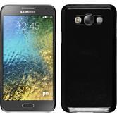 Hardcase Galaxy E7 Lederoptik schwarz + 2 Schutzfolien