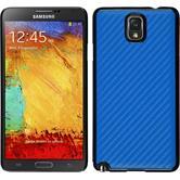 Hardcase Galaxy Note 3 Carbonoptik blau + 2 Schutzfolien