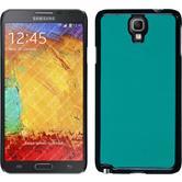 Hardcase Galaxy Note 3 Neo Lederoptik blau + 2 Schutzfolien