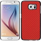 Hardcase Galaxy S6 Carbonoptik rot + 2 Schutzfolien