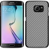 Hardcase Galaxy S6 Edge Carbonoptik silber + flexible Folie