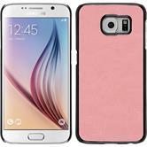 Hardcase Galaxy S6 Lederoptik rosa + 2 Schutzfolien