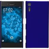 Hardcase Xperia XZ gummiert blau + 2 Schutzfolien