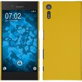 Hardcase Xperia XZ gummiert gelb + 2 Schutzfolien