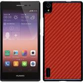 Hardcase for Huawei Ascend P7 carbon optics red