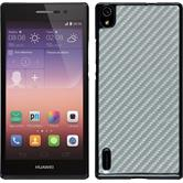 Hardcase for Huawei Ascend P7 carbon optics silver