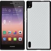 Hardcase for Huawei Ascend P7 carbon optics white