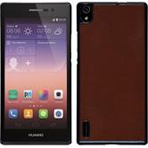 Hardcase for Huawei Ascend P7 leather optics brown