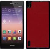 Hardcase for Huawei Ascend P7 leather optics red