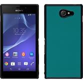 Hardcase für Sony Xperia M2 Lederoptik blau