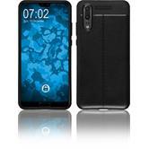 Silicone Case P20 leather optics black Case