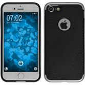 Hybrid Hülle iPhone 7 / 8 Carbonoptik silber + 2 Schutzfolien