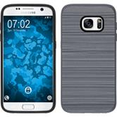 Hybrid Hülle Galaxy S7 brushed Case grau